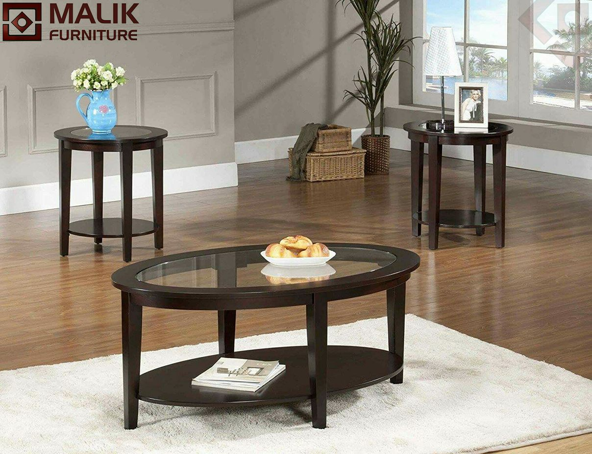 Malik Furniture | Wooden Centre Table With Glass Top ...
